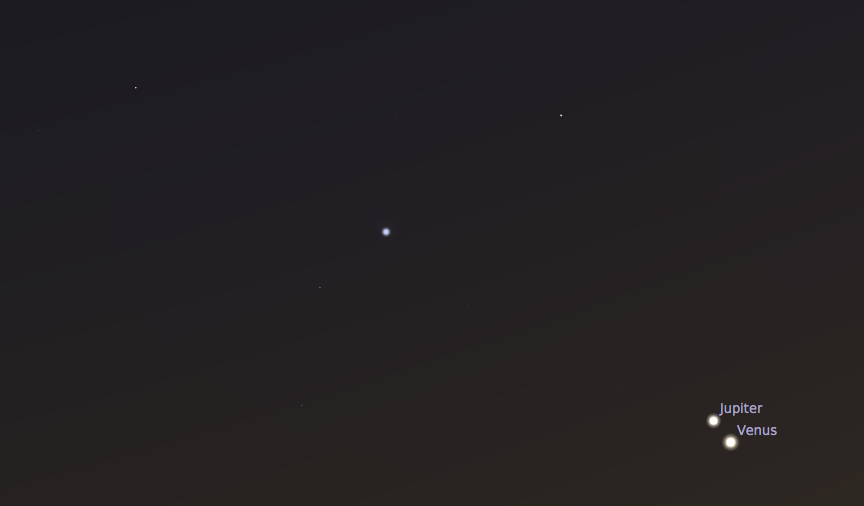 Venus, Jupiter, and Regulus.  Credit: Stellarium software.